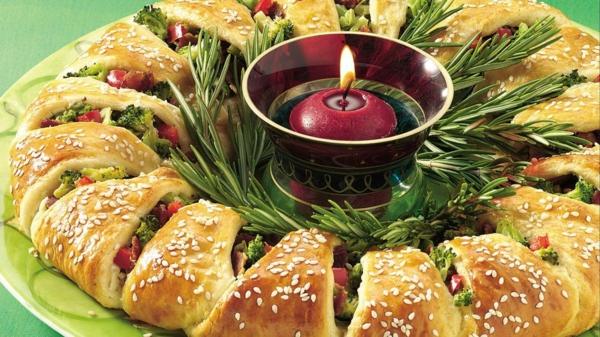 idée de couronne noël pain aux légumes