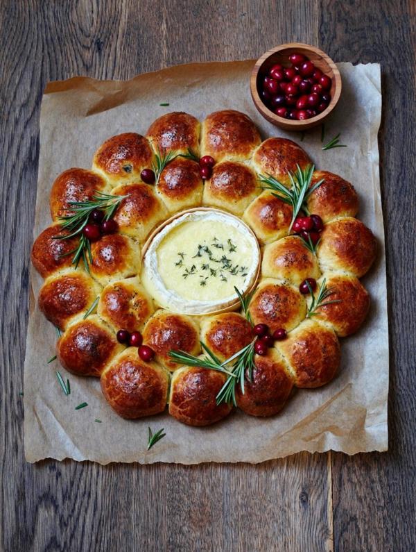 idée de couronne noël pain fromage fondu