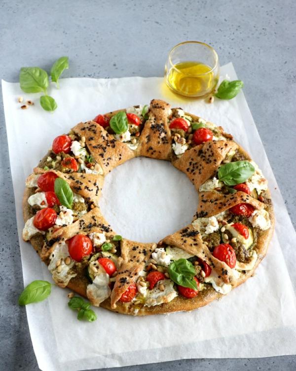 idée de couronne noël pizza