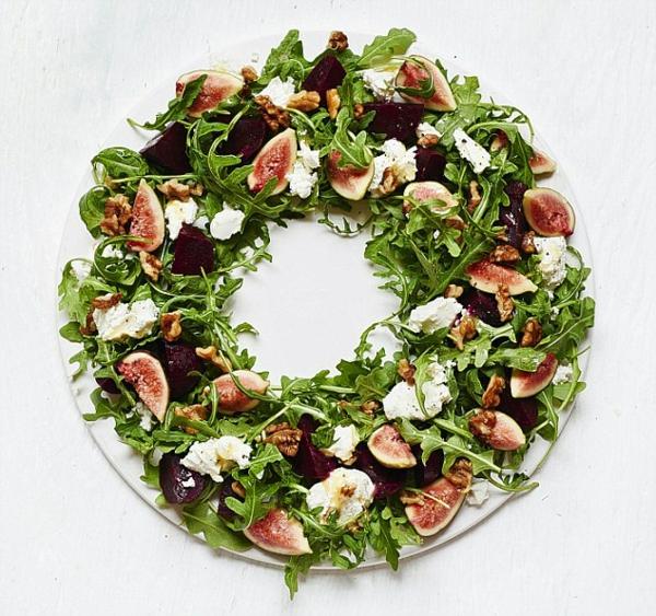 idée de couronne noël salade fromage figues noix