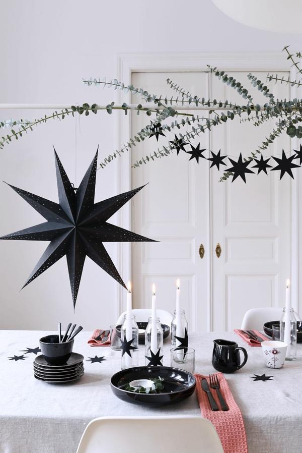 idée de déco de noël scandinave étoiles noires en papier