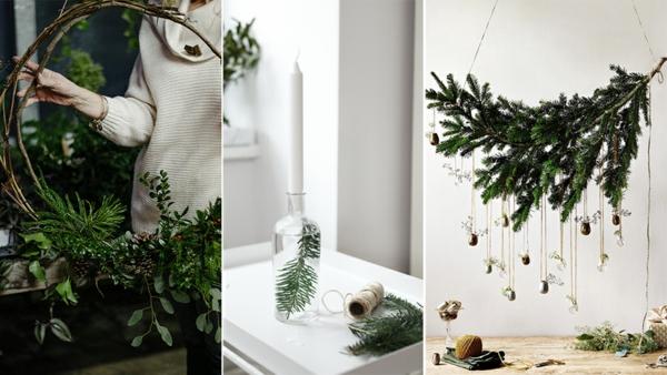 idée de déco de noël scandinave avec de la verdure