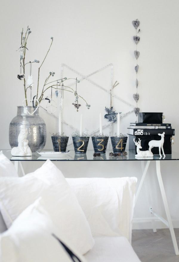 idée de déco de noël scandinave avec des bougies