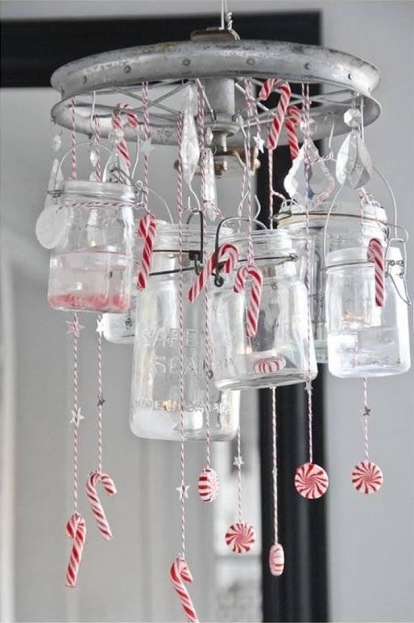 idée de déco de noël scandinave bocaux en verre cannes de sucre