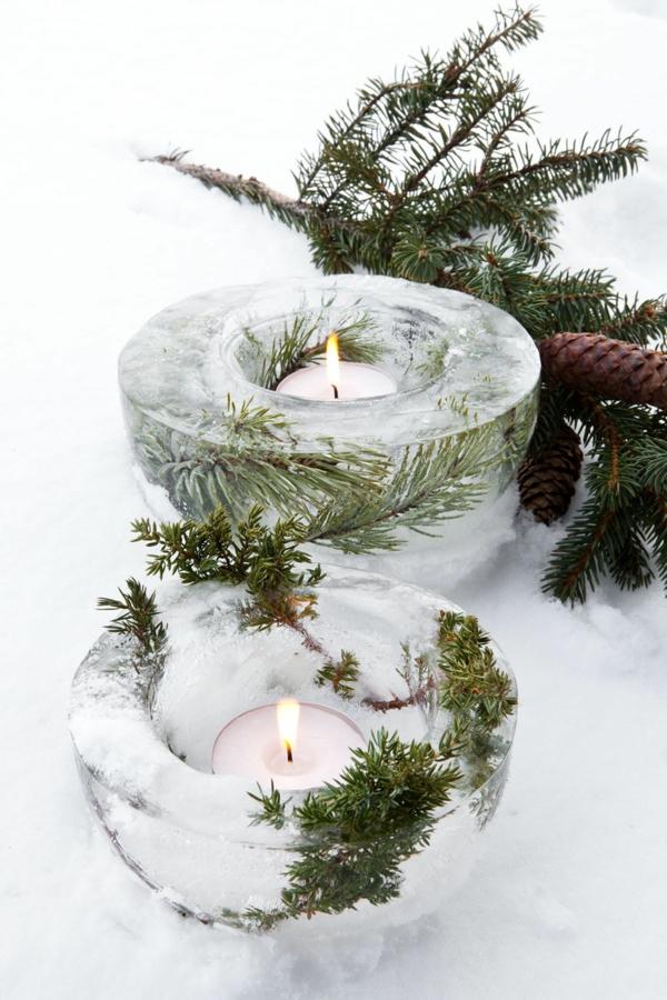 idée de déco de noël scandinave bougeoir en glace diy
