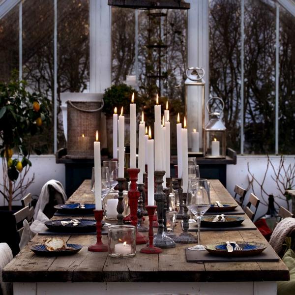 idée de déco de noël scandinave bougeoirs lanternes