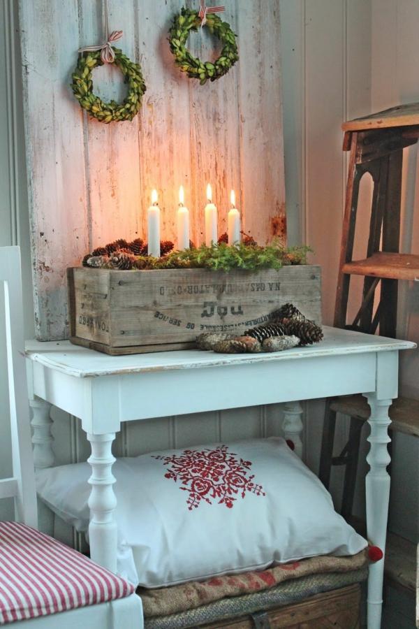 idée de déco de noël scandinave caisse à vin bougies