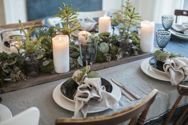idée de déco de noël scandinave centre de table verdure