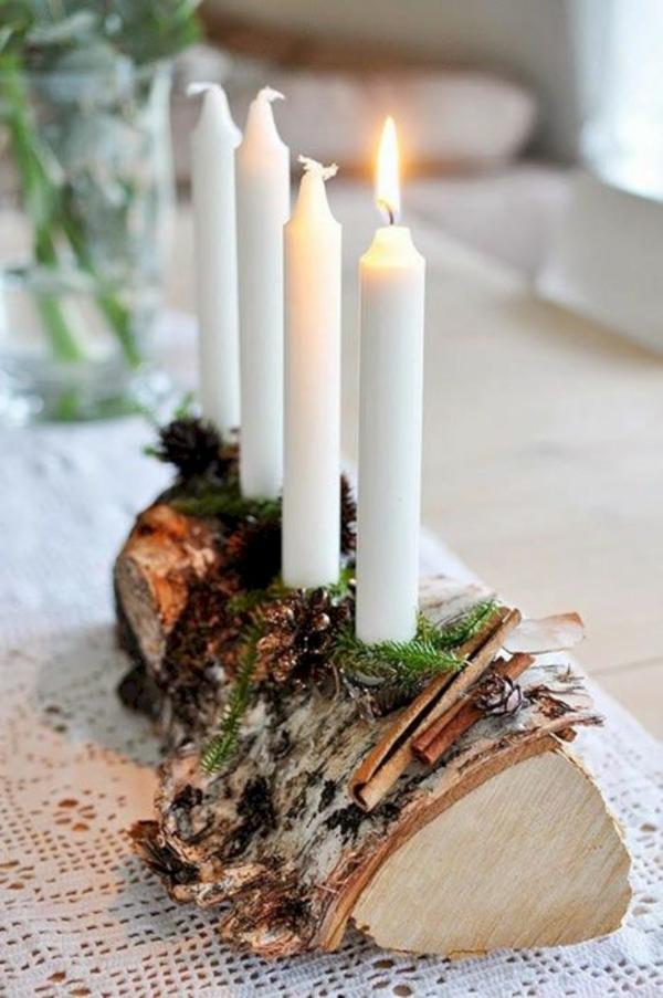 idée de déco de noël scandinave chendelier en bois