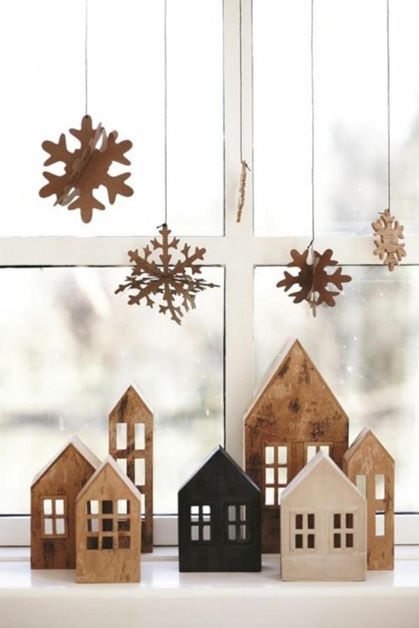 idée de déco de noël scandinave déco fenêtre en bois