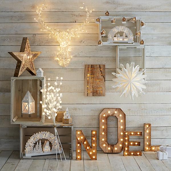 idée de déco de noël scandinave déco lumineuse en bois