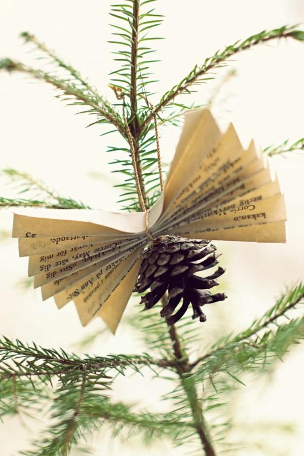 idée de déco de noël scandinave ornement diy pomme de pin papier