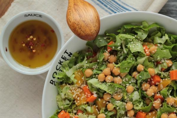 idée menu végétarien pois chiches en salade