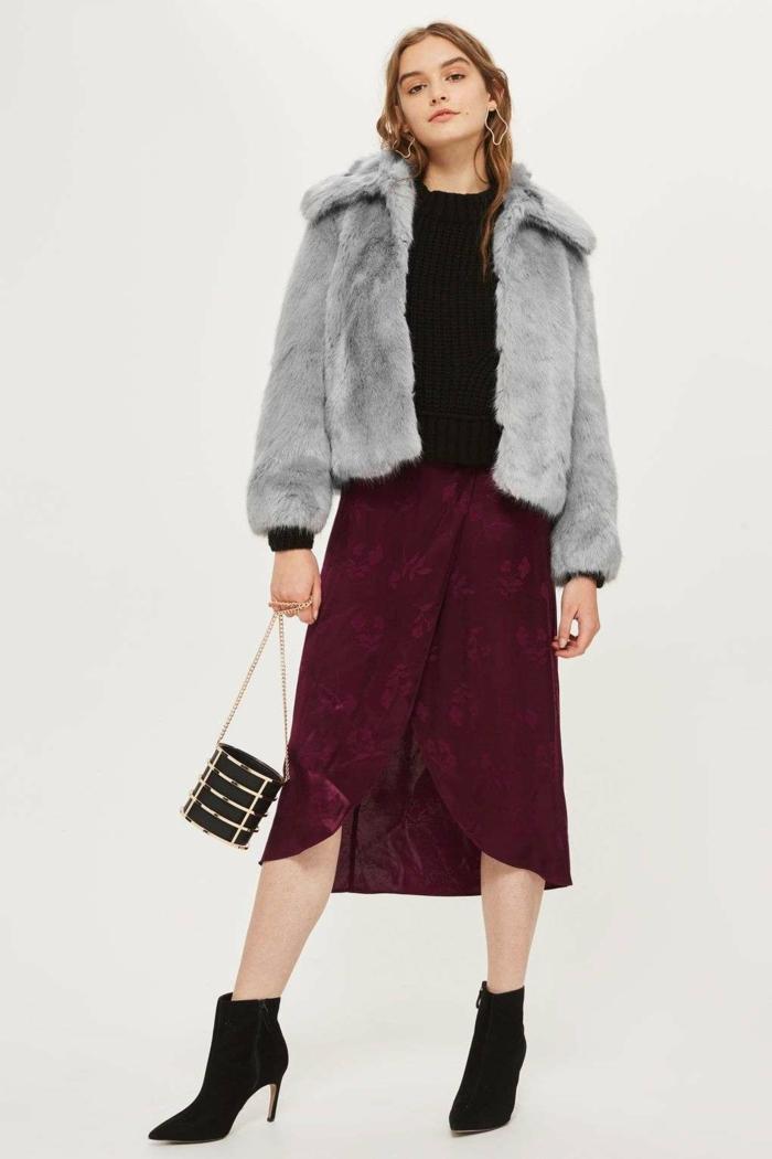 jupe et manteau en fausse fourrure