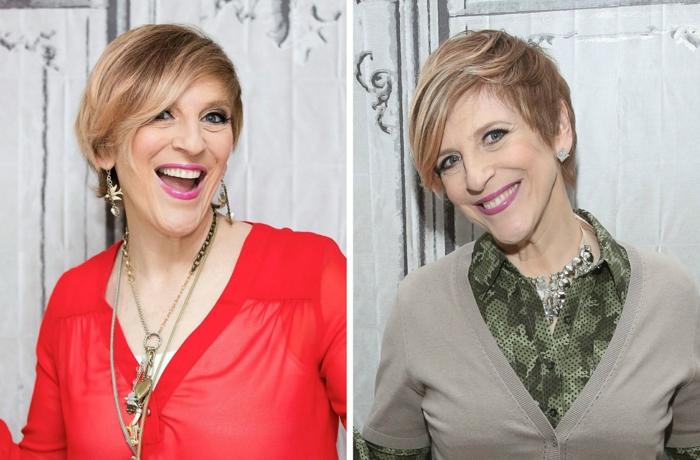 lisa lampanelli coiffure asymétrique coupe cheveux courts femme 50 ans