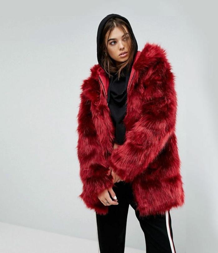 manteau en fausse fourrure couleur tendance