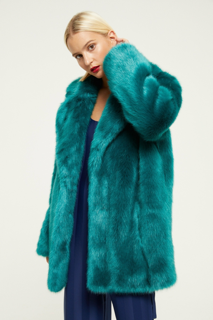 manteau en fausse fourrure emerald