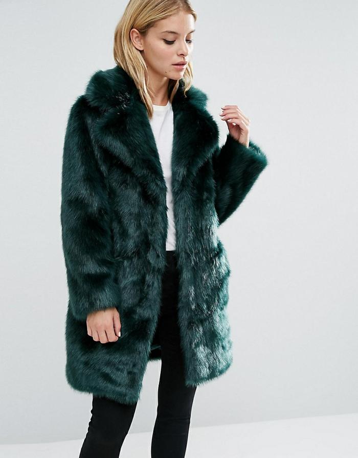 manteau en fausse fourrure idée en vert