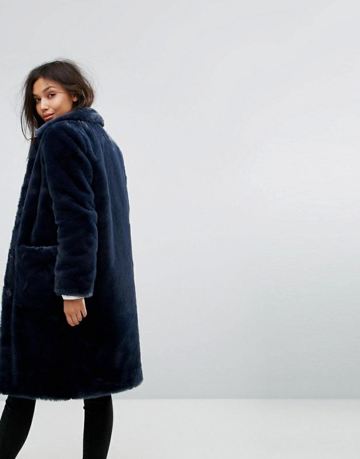 manteau en fausse fourrure noir long