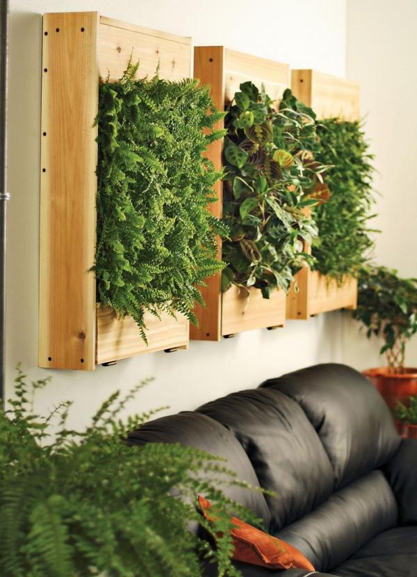 mur végétal palette canapé et verdure