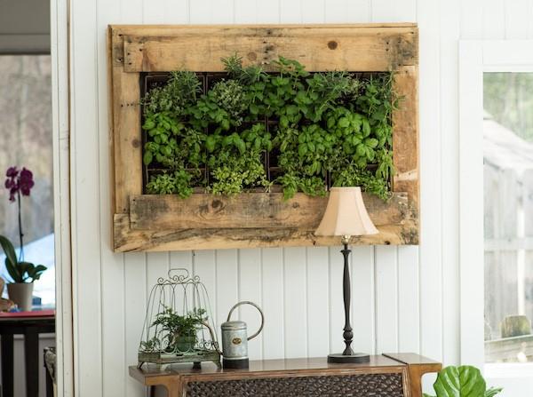 mur végétal palette pour un style vintage