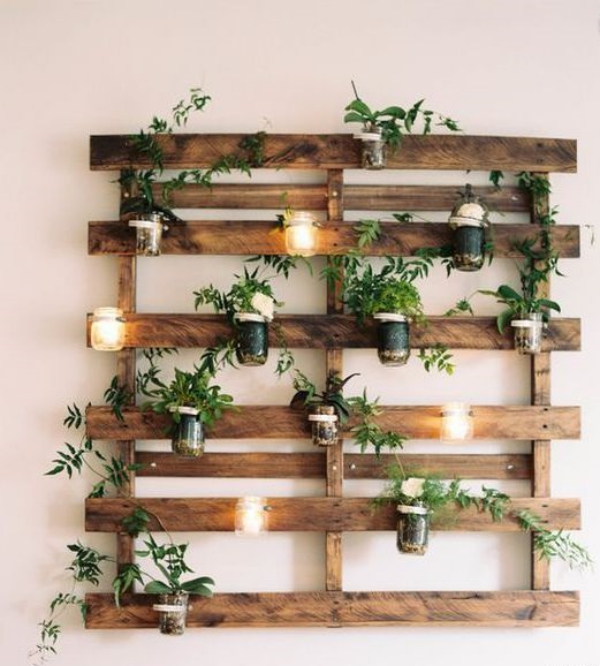 mur végétal palette sans quelques lames
