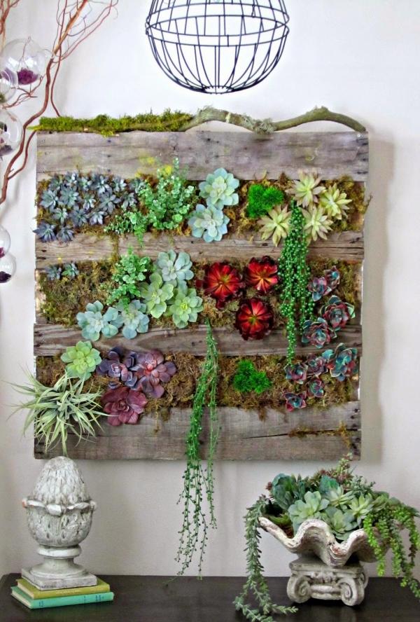 mur végétal palette style vintage