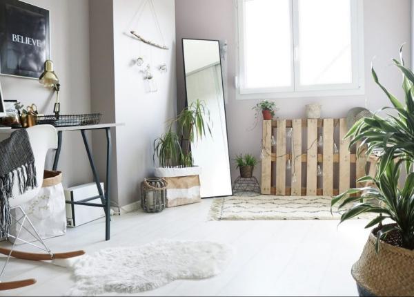 mur végétal palette un salon scandinave