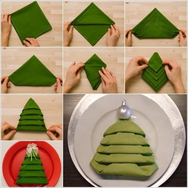 pliage serviette Noël étapes de pliage