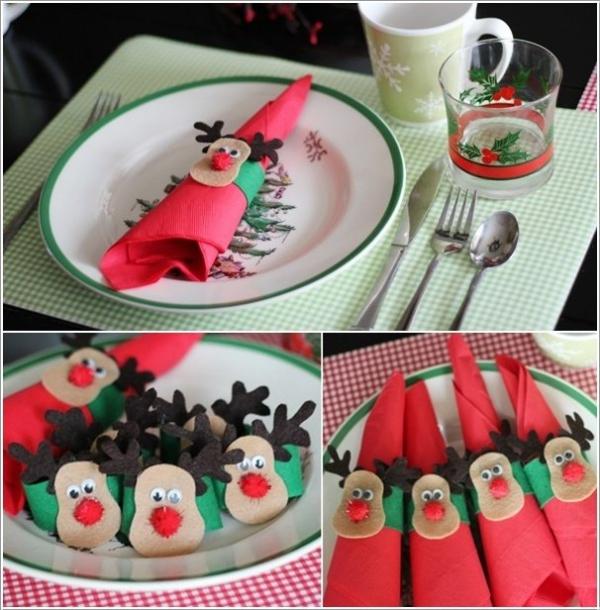 pliage serviette Noël rennes de Père Noël