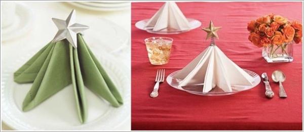 pliage serviette Noël une table bien arrangée