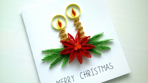 quilling Noël branches et bougies
