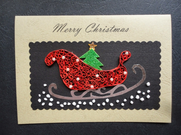 quilling Noël le traîneau de Père Noël