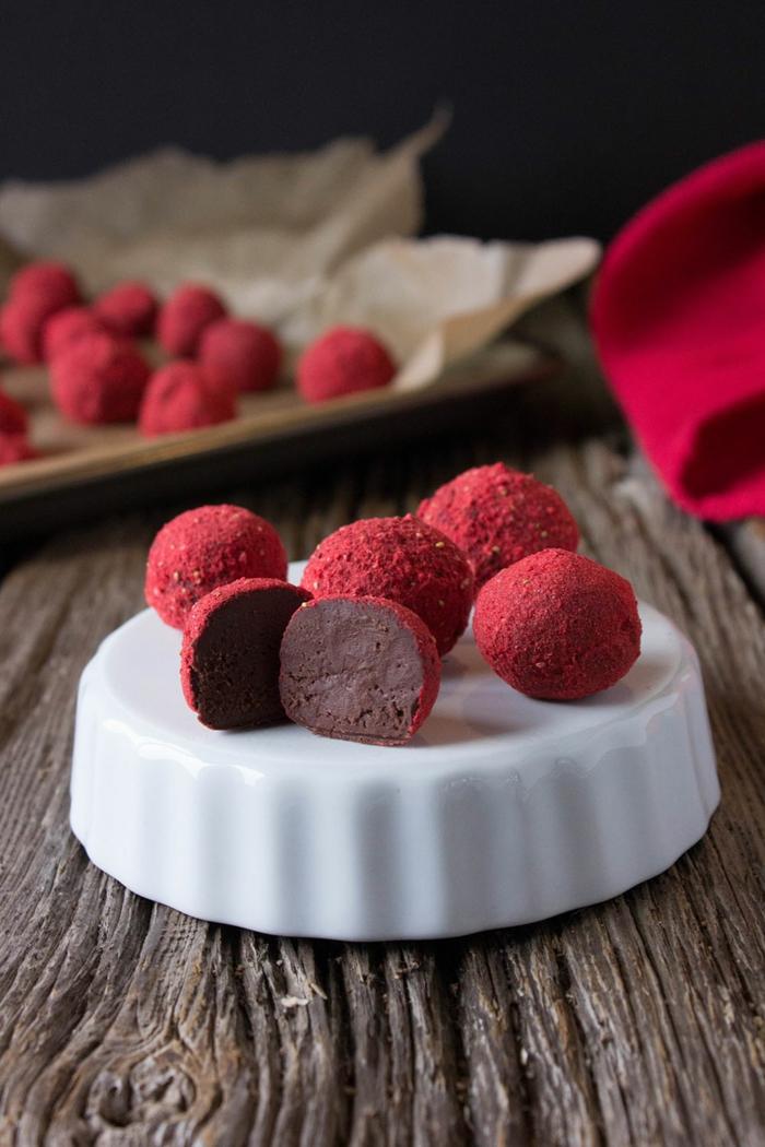 recette truffes au chocolat ai poudre fraises