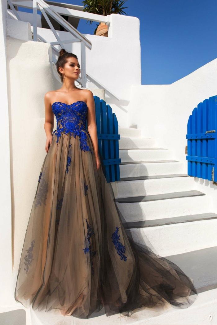 robe de soirée longue bleu klein