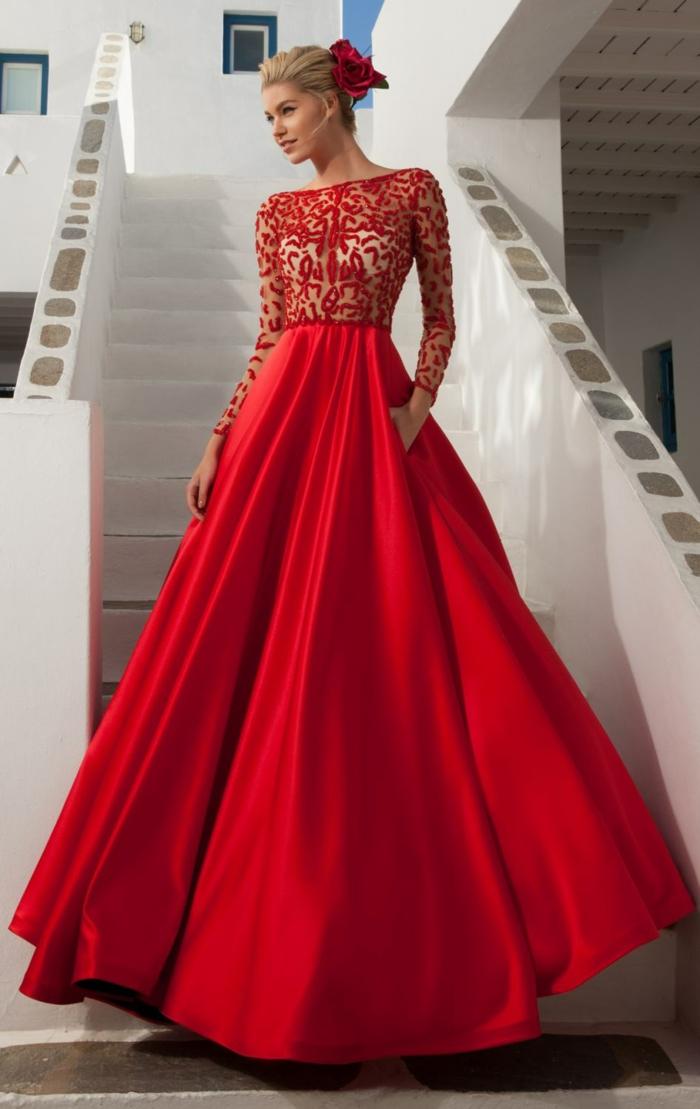 robe de soirée longue manches longues