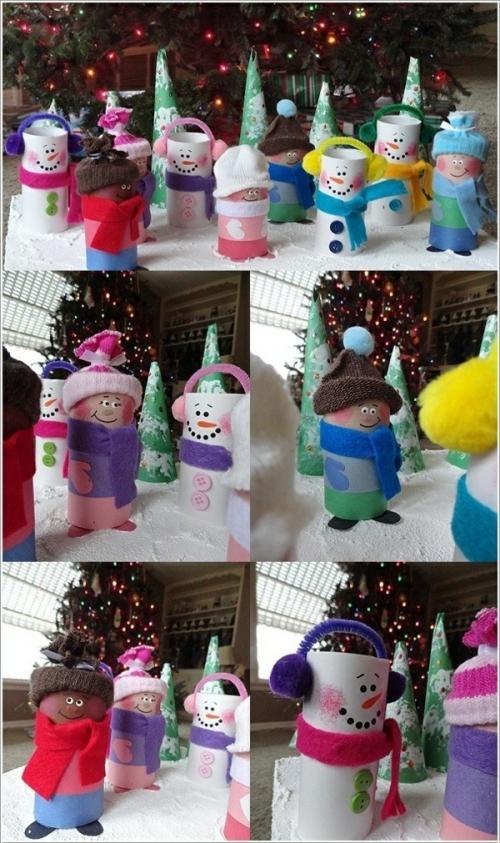 rouleau papier toilette figurines sur la neige