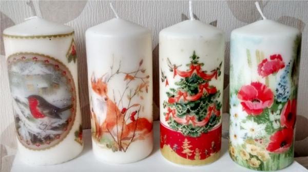 serviettage Noël bougies décorées
