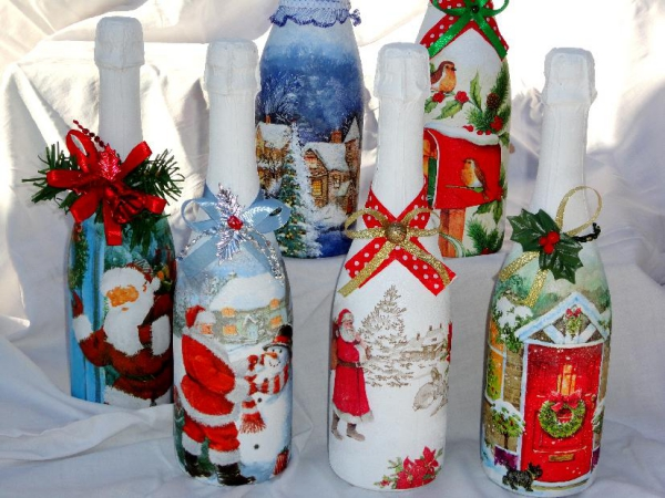 serviettage Noël bouteilles de champagne
