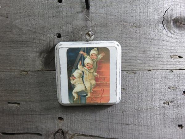 serviettage Noël carte postale dans un cadre