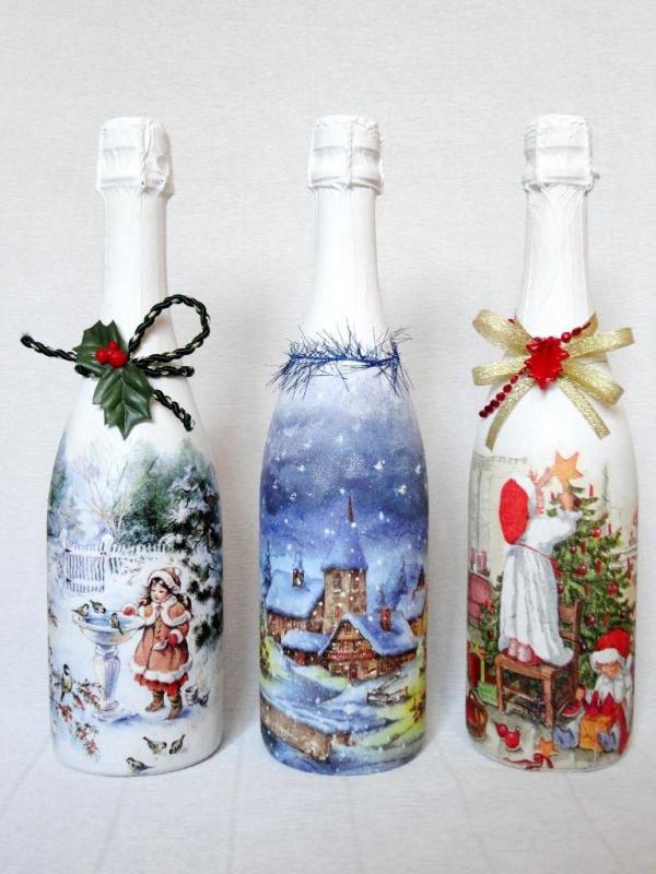 serviettage Noël décoration pour bouteille
