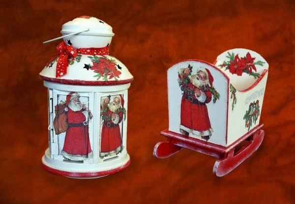 serviettage Noël petit lampadaire et traîneau