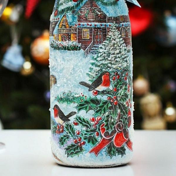 serviettage Noël un joli paysage