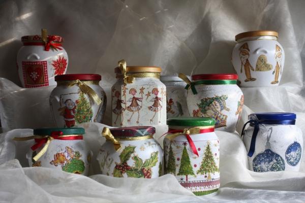 serviettage Noël un riche choix de bocaux
