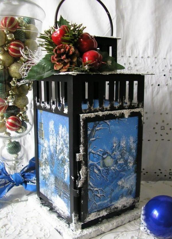 serviettage Noël vieux lampadaire trouvé au grenier