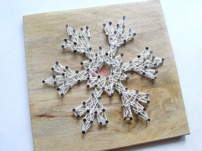 tableau fil tendu un flocon de neige