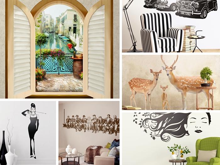 00-stickers-salon-visage-femme-illustration-blanc-et-noir-silhouette-femme-décoration-murale-salon-motifs-famille-animaux-3D-autocollants