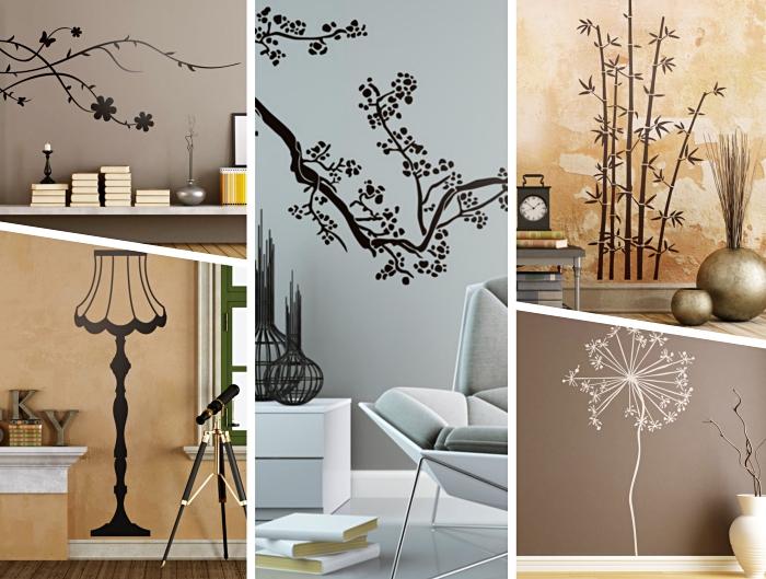 1-idée-stickers-muraux-pour-salon-déco-intérieur-moderne-posters-muraux-autocollants-motifs-floraux-sticker-lampe-sur-pied-noire