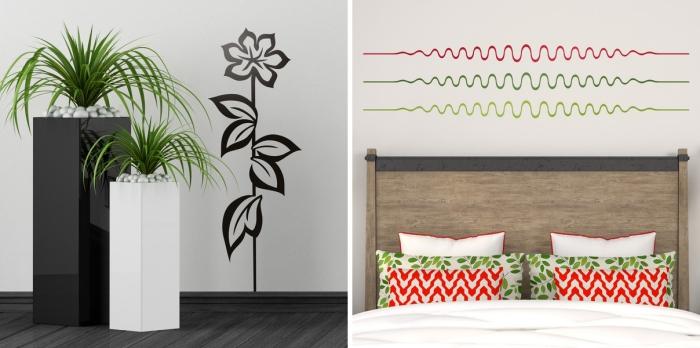 2-comment-décorer-chambre-a-coucher-avec-stickers-maison-tendance-salon-blanc-et-noir-vases-sticker-fleur-illustration-chambre-a-coucher