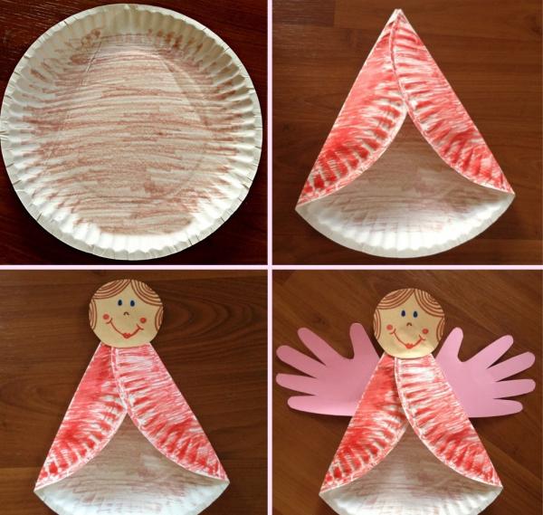 ange de Noël à fabriquer assiette jetable
